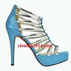 Christian Louboutin Romaine 140 Platform Sandals Booties Blue