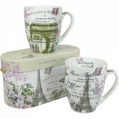La Tour de Paris Porcelain Boxed Set of 2 Mugs