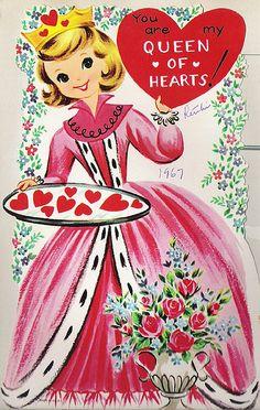 Queen of Hearts ♥ vintage Valentine card