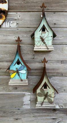 Wall hanger birdhouses by Recycling is for the birds.