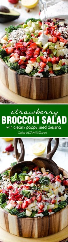 Strawberry Broccoli Salad will be one of the best salads that you make! The perfect easy potluck or side dish packed with crunchy pears, apples, sunflower seeds, sweet dried cranberries, creamy avocad(Best Salad Ideas) Healthy Salads, Healthy Eating, Healthy Recipes, Healthy Food, Clean Eating, Salad Bar, Soup And Salad, Feta Salad, Fruit Salad