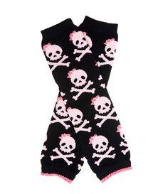 New Baby Girl Black Pink Red Funky Skulls Skirt 0-3 newborn Alternative Gift
