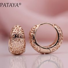 PATAYA New Arrivals Unique Exquisite Carved Hollow 585 Rose Gold Dangle Big Earrings Women Wedding Party Fine Trendy Jewelry Gold Earrings Designs, Gold Jewellery Design, Gold Jewelry, Fine Jewelry, Jewelry Shop, Simple Earrings, Gemstone Earrings, Statement Earrings, Women's Earrings