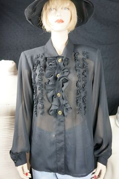 I love love love these older sheer tux shirts. Full sheer sleeves with cloth covered buttons at wrist. Full ruffle front with a row of
