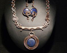 Cobre joyería / joyería de la turquesa conjunto por BeyhanAkman