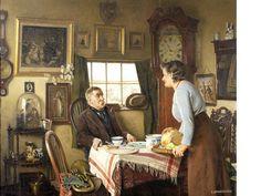 "Charles Spencelayh, RMS, HRBSA (British, 1865-1958) ""Elevenses"""