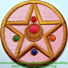 """Sailor Moon Sailormoon Transformation Compact Locket Inspired 3"""" Patch Fully Wrapped Edges Sew / Iron On or Velcro Backed"""