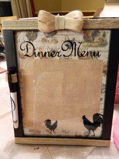 Dry Erase Menu board for Erin's Kitchen