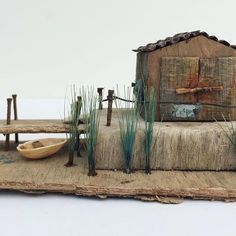 Old boat shed. Driftwood Crafts, Wooden Crafts, Wooden Diy, Driftwood Ideas, Kitsch, Kirsty Elson, Small Wooden House, Putz Houses, Wood Houses