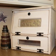 Rustic Antiqued Bread Box Potato Vegetable Bin wooden Punched Tin Storage Primitive countertop Cupboard Onion Potatoes Country Kitchen