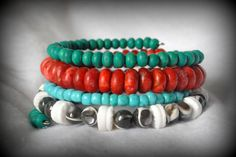 Bohemian Style Wire Wrap Bracelet Mother of Pearl, Shell, Wood, Coral Wire Wrap Bracelet by Cheshujewelry