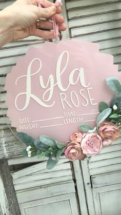 baby hospital room decoration The most unique and breathtaking baby name sign out there for baby girls room, hospital door, and newborn photography prop Baby Girl Names, Baby Girl Gifts, Baby Girls, Congrats Baby Girl, Hospital Signs, Hospital Door, Nursery Room Decor, Girl Nursery, Nursery Ideas