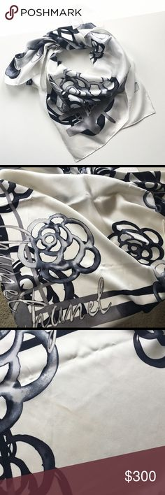 Chanel Camelia Silk Square Scarf Silk Chanel scarf. Approximately 35x35 inches. Roll stitched edges. Of course authentic. Worn once or twice, like new. Black and white pattern with Camelia outline and Chanel inscribed. Has small foundation stain (pictured) and needs to be cleaned. No pulls or damage. Scarf only. First picture is truest colour, the scarf is bright white, not off-white. No trades. CHANEL Accessories Scarves & Wraps