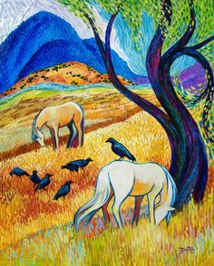 Sleepy Meadow by Sally Bartos, New Mexico artist. Her work is available from bartos on Etsy.
