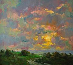"""Oil Painting by Gregory Packard """"The Fertile Valley"""" It is possible that we get the most entertainment from works that have large amounts of representation and symbolism. Along the same path it is. Paintings I Love, Beautiful Paintings, Abstract Landscape, Landscape Paintings, Art Oil, Painting Inspiration, Amazing Art, Cool Art, Art Gallery"""