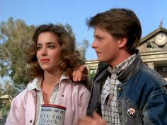 Marty and Jennifer (Back to the Future) (c) 1985 Robert Zemeckis, Amblin Entertainment & Universal Pictures The Future Movie, Back To The Future, Delorean Time Machine, Amblin Entertainment, Michael J Fox, Bttf, Parenting Teenagers, Marty Mcfly, Universal Pictures