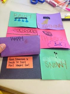 Identifying Feelings  This was a fun little activity. Identified feelings with weather patterns as well as colors. Then we put a coping skill under the flap. Surprise! Feelings