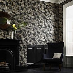 Honolulu Wallpaper in Black and Gold by Julien MacDonald for Graham & Brown