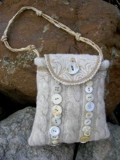 Cute lil button embellished bag,  Looks like it was made from a wool sweater