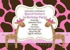 Here it is: Pink Giraffe Birthday Invitation Giraffe by CutiesTieDyeBoutique