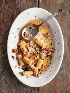 Pasta alla Norma Recipe | Cal Peternell's Twelve Recipes Cookbook (Just eggplant, tomato, pasta, herbs, olive oil, and ricotta salata.)