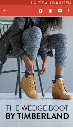 Timberland wedges. My joggers, and coat. Easy.