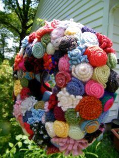Wool Felt Rosette Wreath