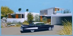 FLEETWOOD  1959 Cadillac Fleetwood parked in front of a modern desert home. Mid century modern living.  This is a limited edition (200 prints) print by Linda Tillman. It is a print of an original gouache painting. Prints are all printed on archival matte paper. They are printed with a Canon iX6500 printer. It has a border. The edges of the composition fade softly into white as they do on the original painting. The print will fit a standard pre-cut matte for easy framing.  The size is 9 x 18…