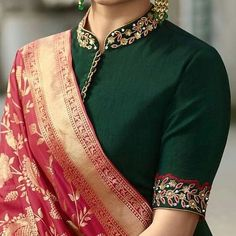 Dress Pattern Indian Blouse Designs Ideas For 2019 Blouse Designs High Neck, Silk Saree Blouse Designs, Fancy Blouse Designs, Bridal Blouse Designs, Blouse Designs Embroidery, High Neck Saree Blouse, Saree Jacket Designs, Embroidery Blouses, Saree Blouse Patterns