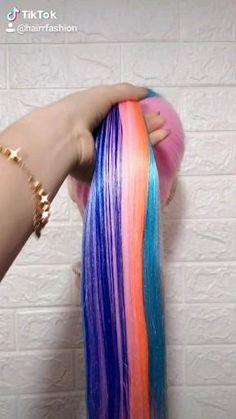 Kawaii Hairstyles, Easy Hairstyles For Long Hair, Creative Hairstyles, Rainbow Hairstyles, Crazy Hairstyles, Hairstyle Ideas, Crazy Hair Day Girls, Crazy Hair Days, Girl Hair Colors