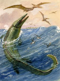 The Mosasaurus by Charles R. Knight (1874-1953)