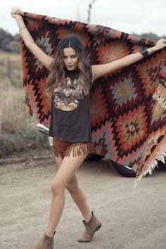 #navajo print Blanket  Black muscle Tee over fringe shorts.   Super cute summer festival style