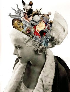 'Hidden Thoughts' collage by Lynn Skordal Collage Kunst, Art Du Collage, Mixed Media Collage, Dream Collage, Flower Collage, Collage Design, Photomontage, Dadaism Art, Arte Sketchbook