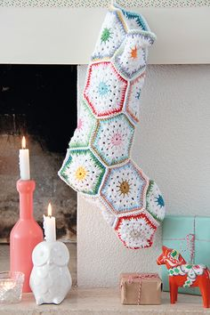 Befana's stocking crochet hand-picked, candy colors