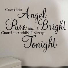 Guardian Angel wall at sticker Large Quote kids nursery design