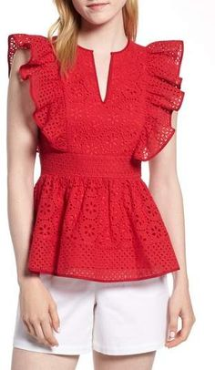 Ruffle Blouses For Your Wardrobe This Winter Source by roecuresper dress Ruffle Blouses For Your Wardrobe This Winter Source by roecuresper dress casual Product Image 1 1901 Cotton Eyelet Ruffle Top (Regular & Petite) Ruffle Top, Ruffle Blouse, Eyelet Top, Dress Lace, Peplum, Modest Fashion, Fashion Dresses, Winter Mode, Dress Sewing Patterns