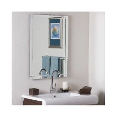 FRAMELESS BEVELED WALL MIRROR BATHROOM VANITY ACCENTS CONTEMPORARY MODERN DECOR  #Contemporary