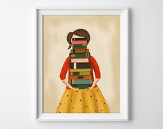 Book Lover Art  Book Lover Print  Reading by TheMidnightRabbit