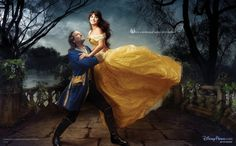Penelope Cruz as Belle and Jeff Bridges as the Beast from Beauty and the Beast