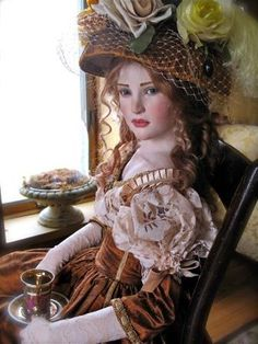 Rose - a Jamie Williamson one of a kind polymer doll - gorgeous! From the Dollery Pretty Dolls, Beautiful Dolls, Jamie Williams, Victorian Dolls, Polymer Clay Dolls, China Dolls, Mademoiselle, Little Doll, Kate Winslet