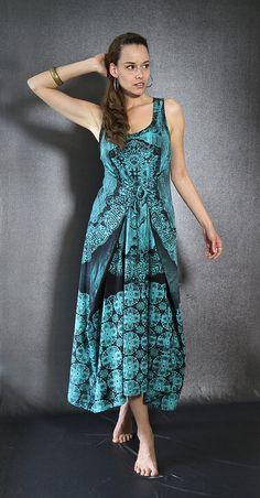 dfb57da086 Super Maxi Dress Mandala Dark Spray On Turquese Blue 100% Cotton Blouse  Dress