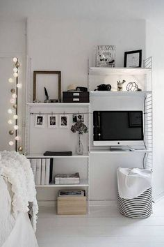 Small Apartment Storage Ideas White Bedroom - love the string of globe lights!