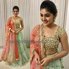Nivetha Thomas, Mrunalini Rao, Designer Lehenga combination show some very beautiful work by the designer. Half Saree Designs, Bridal Blouse Designs, Lehenga Designs, Saree Blouse Designs, Blouse Patterns, Dress Designs, Half Saree Lehenga, Lehnga Dress, Sari