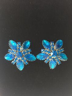 Elegant  blue rhinestone clip-on earrings J-P8 by ShopFlashbacks