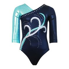 Beautiful navy mystique leotard with seafoam mystique shoulder and sleeve. Appliques are made of sparkly jewels silver and seafoam mystique (front only). Rhinestones are clear Korean crystals (Swarovski available on request for an extra cost). Custom tea