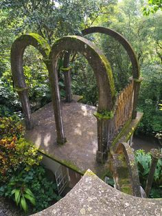 "Amazingly surreal Las Pozas in the rainforest by Xilitla in the Mexico mountains. Created by Edward James in the 40′s, it includes more than 80 acres of natural waterfalls and pools interlaced with towering surrealist sculptures and buildings. The many trails throughout the garden site are composed of steps, ramps, bridges and narrow, winding walkways that traverse the valley walls. It was supposed to be a ""Garden of Eden"" containing a huge variety of plants and animals."