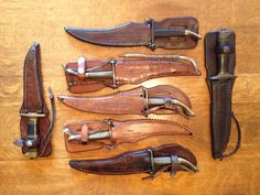 A collection of rare U.S. World War II home-front fighting knives by Floyd Nichols and Frank Richitg. Photo by Brian Quinn.