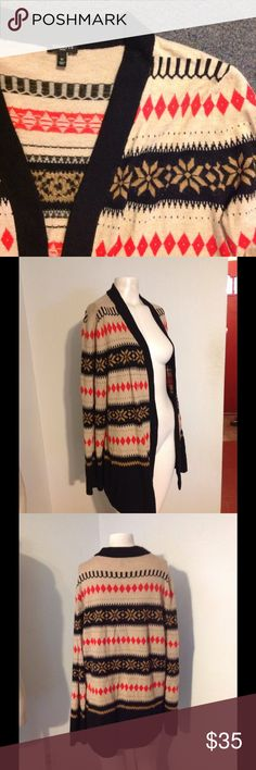 Talbots Fair Isle Snowflake Hangs Open Sweater Very nice Talbots sweater. Fair Isle snowflake pattern. Hangs open style. Made of nylon/wool/mohair in size 1X. Nice condition. Talbots Sweaters Cardigans
