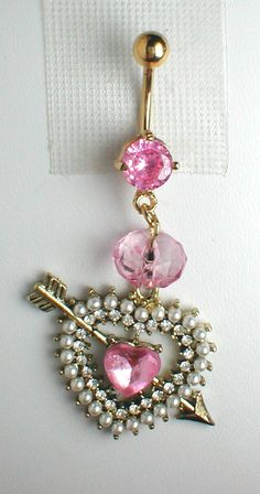 Unique Belly Ring - Sweetheart Heart and Arrow. $12.95, via Etsy.