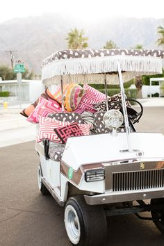 Colors and patterns as only designer Trina Turk can create. We love the resort-style feel of her residential collection, especially this . Golf Cart Covers, Custom Golf Carts, Golf Score, Buggy, Resort Style, Trina Turk, Play Golf, Palm Springs, Decoration